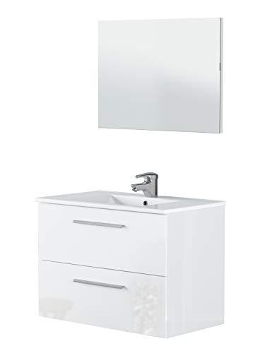 Miroytengo Mueble Lavabo Colgante para baño Aseo de 2 cajones en Color Blanco Brillo con Espejo y LAVAMANOS CERÁMICO Incluido 80x45x57 cm