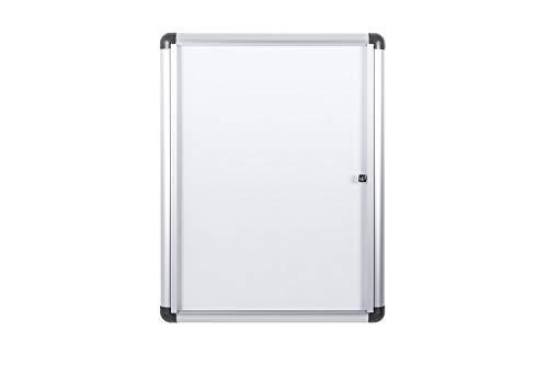 Bi-Office Boletín Enclore Extra, Superficie magnética en acero lacado, Tablón de anuncios con puerta con bisagras para interiores en aluminio, 532 x 686 mm - 4xA4