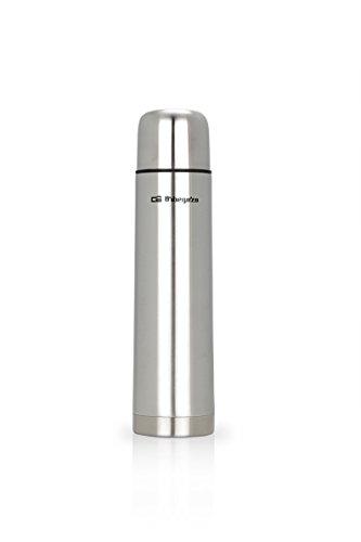 Orbegozo TRL 10060 - Termo para líquidos, cuerpo inox, tapón con pulsador dosificador, conserva líquidos fríos y calientes, 1 litro