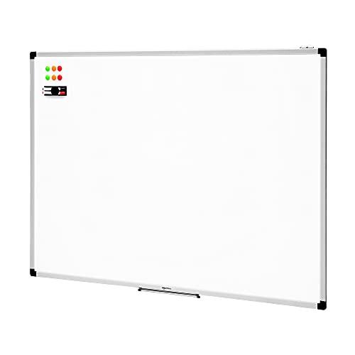 Amazon Basics - Pizarra blanca magnética con bandeja para rotuladores y marco de aluminio, 120 cm x 90 cm