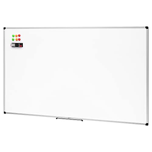 Amazon Basics - Pizarra blanca magnética con bandeja para rotuladores y marco de aluminio, 60 x 90 cm