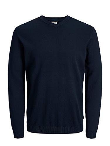 Jack & Jones Jjebasic Knit V-Neck Noos suéter, Azul (Navy Blazer Navy Blazer), Large para Hombre