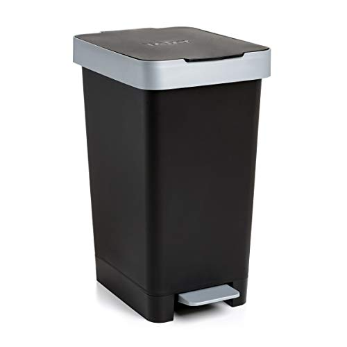 Tatay Cubo de Pedal Smart, 25L de Capacidad, Pedal Retráctil, Polipropileno, Libre de BPA, Bolsa Basura 30L. Color Negro. Medidas 26 x 36 x 47cm