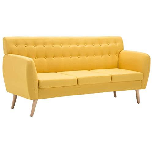 vidaXL Sofá de 3 Plazas Tapizado de Tela 172x70x82cm Amarillo Mobiliario Hogar