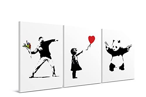 Cuadros Modernos Banksy - 30 x 40 cm (Pack 3) - Decoración de Pared para Salón, Dormitorio, Cocina y Baño - Lienzo de Poliéster y Bastidor de Madera, LEN-024