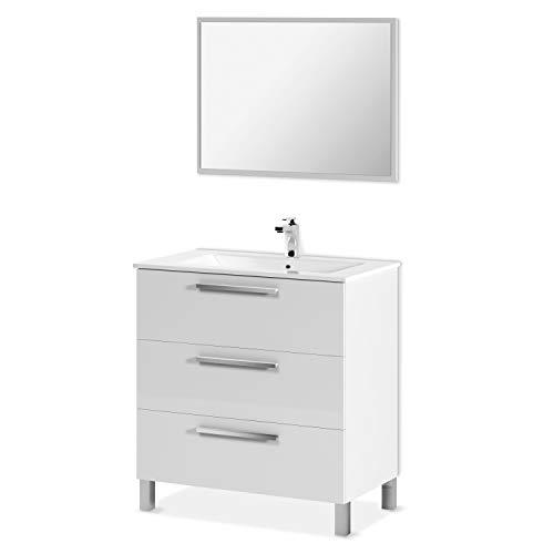 ARKITMOBEL Mueble de Baño con 3 Cajones y Espejo, Modulo Lavabo, Modelo Athena, Acabado en Blanco Brillo, Medidas: 80 cm (Ancho) x 86 cm (Alto) x 45 cm (Fondo)