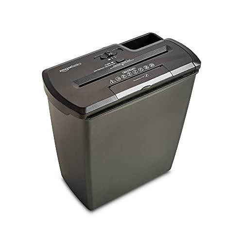 Amazon Basics - Destructora de papel, tarjetas de crédito y CD con recipiente separable (corte recto, capacidad de hasta 8 hojas), negro