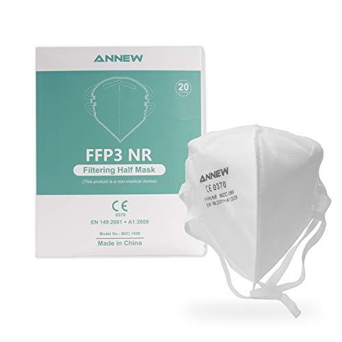 20X ANNEW FFP3 mascarilla Protectora Boca Nariz mascarilla Protectora respirador máscara Facial, respirador de 5 Capas, mascarilla para Adultos protección Boca-Nariz con Tela