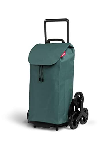 Gimi Tris Urban - Carro de la compra con 6 ruedas, bolsa impermeable 100% poliéster, capacidad 52L, 44,1 x 50,7 x 95,6 cm, color verde
