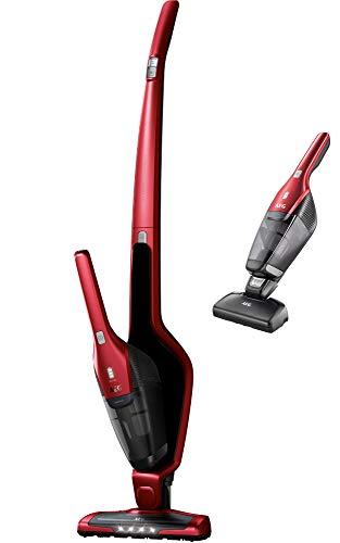 AEG CX7-2-45AN Aspiradora Escoba Sin Cable y de Mano,Cepillo Mascotas, Batería 45 Minutos,2 Velocidades,Cepillo 180º, 79dB de Ruido, Función Limpieza Cepillo,Cepillo Luces LED, Depósito 0.5L, Rojo