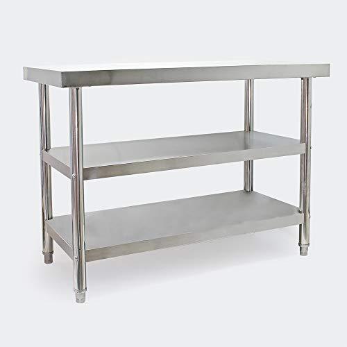 Mesa trabajo acero inoxidable con 2 baldas inferiores 120x60cm altura regulable Hostelería Gastro