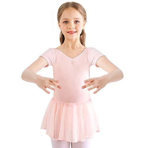 Bezioner Vestido de Ballet Maillot de Danza Gimnasia Leotardo Algodón Body Clásico para Niña Rosa 120