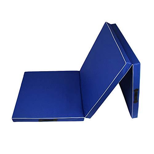 CalmaDragon 85620, Colchoneta Gimnasia, Espuma PU, Impermeable, Alfombra de Protección en 3 Paneles Plegables, 60 x 180 x 6cm, Resistente, Antideslizante, Compacta, Ligera, para Yoga, Pilates (Azul)