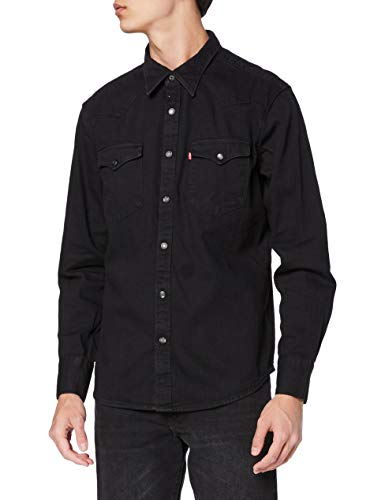 Levi's Barstow Western Standard Camisa, Black (Marble Black Denim Rinse 0002), X-Large para Hombre