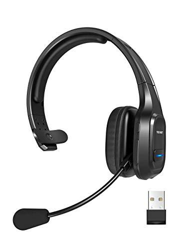 TECKNET Auriculares con Micrófonos PC,Auricular Bluetooth Cascos con Estación de Carga Cancelación de Ruido Sonido estéreo Claro Cascos Compartible Skype, Teléfono,Centros de Llamadas,Cursos Online