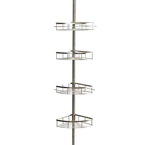 Estanterias de baño 110-310cm Estante de esquina telescópico para ducha 4 niveles, ABS + inoxidable