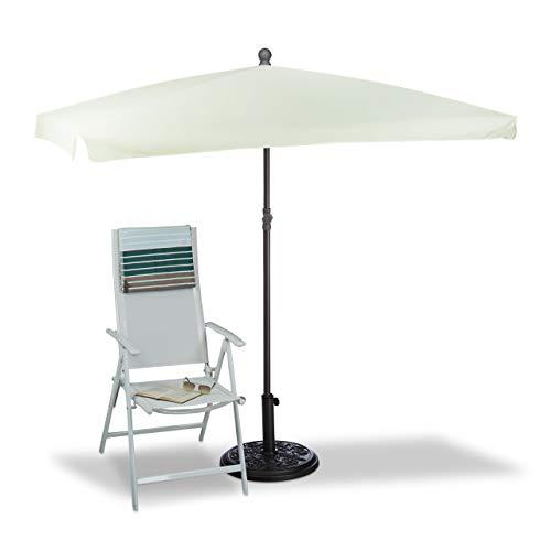 Relaxdays Sonnenschirm rechteckig, 200 x 150 cm, Rippen, Polyester, Neigefunktion, Gartenschirm, Natur Sombrilla Terraza Rectangular, Amarillo Claro, 150 x 200 x 240 cm