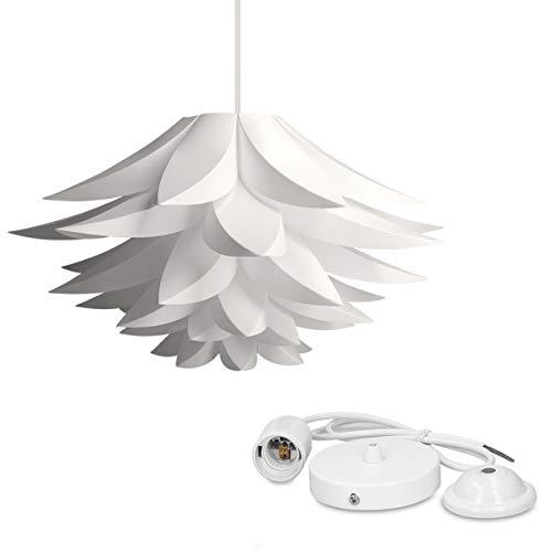 kwmobile Lámpara de puzzle colgante DIY - Iluminación de techo con diseño decorativo de flor de loto - 90 CM de cable con toma E27 en color blanco