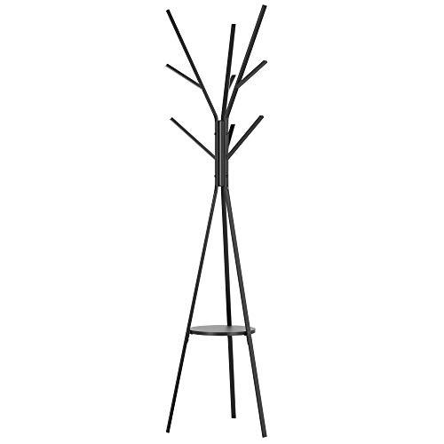 Homfa Perchero de Pie Perchero de Árbol Perchero Metálico para Ropa Sombrero Bolso con 1 Estante 9 Ganchos Negro 43.5x43.5x180cm