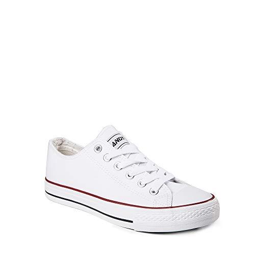 Zapatillas Mujer Lona Goma Puntera Casual (White, Medium, 39)…