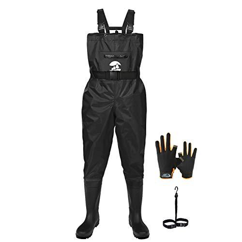 SaphiRose PONCHO Vadeador de Pesca Pantalones con Botas Impermeable para Hombre Mujer Waders Transpirables Negro Talla 42