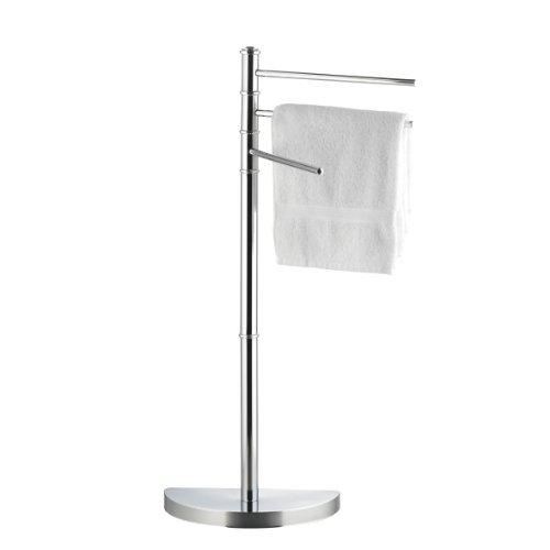 axentia – Toallero de pie con 3 brazos móviles ´´Lianos´´- altura 86 cm – metal cromado y plástico robusto – Estante estable, Colgador, Perchero multiusos, Barras flexibles para toallas