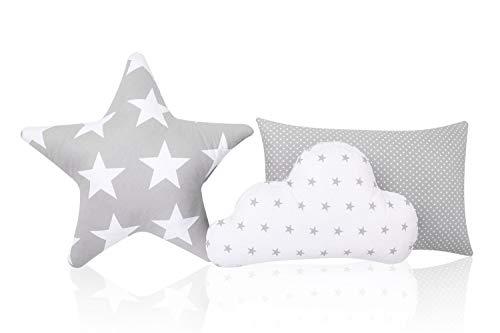 Juego de 3 cojines decorativos Amilian con forma de estrella y nube
