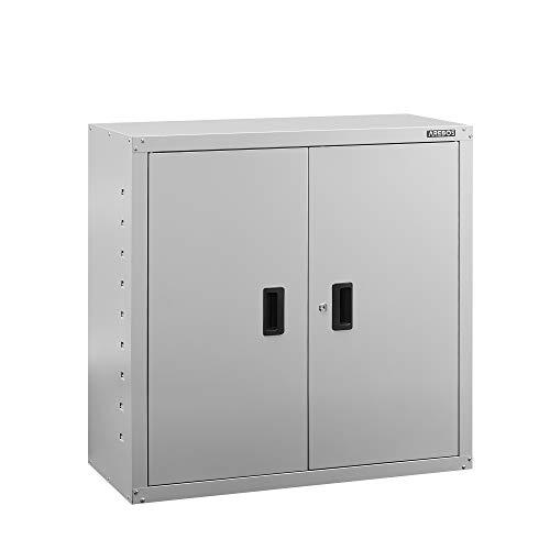 AREBOS Armario archivador para oficina | gris | 90 x 40 x 90 cm | 2 puertas | estante regulable en altura | con cerradura de cilindro
