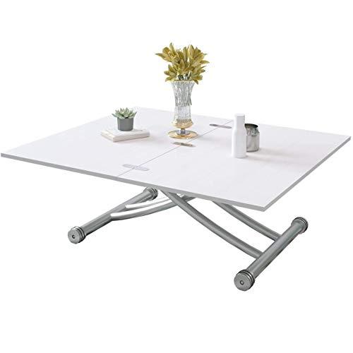 BELIWIN Mesa de centro con tapa elevada, color blanco, altura ajustable, superficie superior plegable de 2 partes, mesa de comedor para sala de estar y oficina