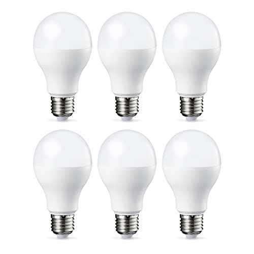 Amazon Basics Bombilla LED Esférica E27 de tornillo Edison, 9W (Equivalente a 60W), [Classe energética A++], Blanco Cálido - 6 unidades