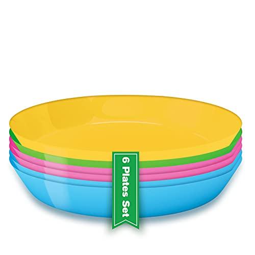 Platos de plastico reutilizables (6 Uds), Vajilla reutilizable de plástico duro, Platos picnic hondo Apto para Microondas para Niños y Adultos, Vajilla de colores