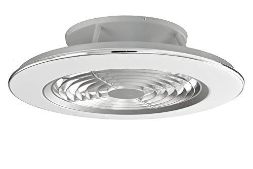 Mantra Iluminación. Modelo ALISIO. Ventilador y plafón de techo de 63 cm de diámetro en color plata. Fuente de luz LED 70W 2700K-5000K 4900lm. Ventilador 35W