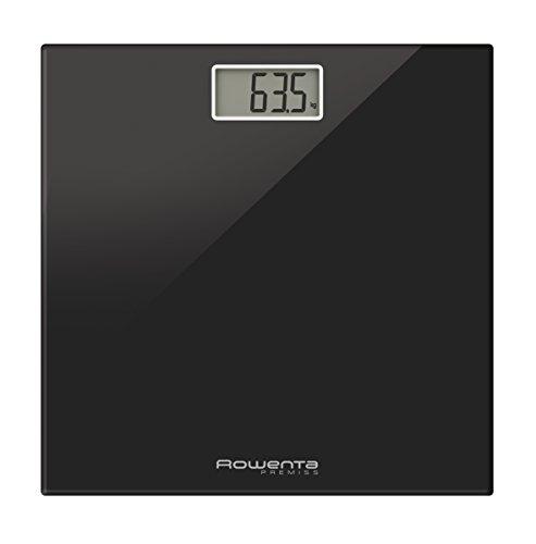 Rowenta Premiss BS1060V0 - Báscula baño con pantalla LCD, compacta, capacidad de 150 kg, plataforma de vidrio, apagado automático incluye pilas