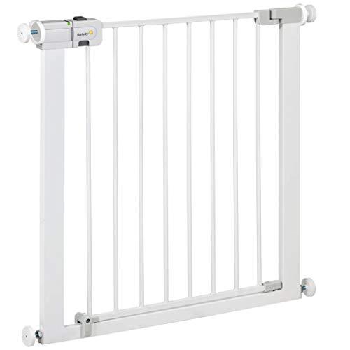 Safety 1st Easy Close Metal - Barrera de seguridad bebés, niños y perros, metálica para puertas y escaleras, puerta de seguridad 80 cm hasta 136 cm con extensiones, color blanco