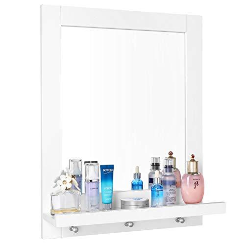 Homfa Espejo Baño Espejo de Pared con 1 Balda y 3 Ganchos Espejo para Baño Dormitorio Blanco 47x13.5x60cm