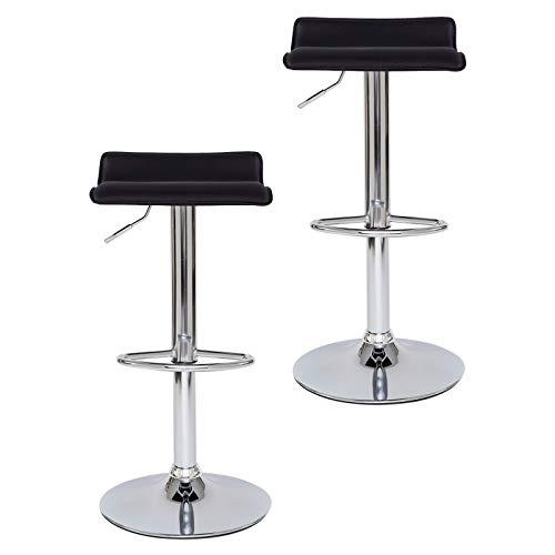 dibea BC00875 4 - Juego de 2 taburetes de Bar (Piel sintética, giratoria 360°, Altura Regulable), Color Negro