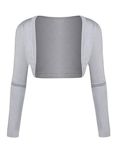 Parabler Bolero de manga larga para mujer, de estilo festivo, con hombros gris XXL