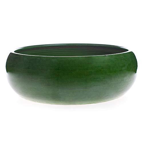 Maceta de Barro esmaltada en Color Verde Modelo Pauly 25 cm de diametro 10 cm de Altura