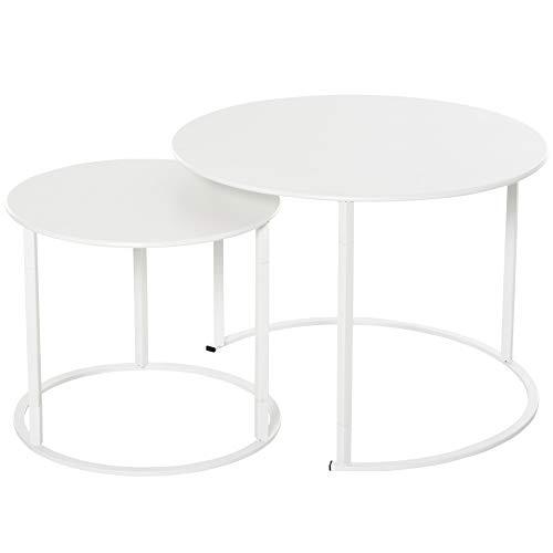 Outsunny Juego de 2 Mesas de Café Φ70x50 cm y Φ50x43 cm Mesitas Auxiliares Redondas de Metal para Jardín Salón Domitorio Carga Máxima de 25 kg Blanco