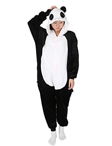 Panda Carnaval Disfraces Pijama Animales Disfraces Outfit Animales Dormir Traje Animales OneSize Sleepsuit con Capucha Adultos Unisex de Forro Polar Mono Disfraz (S, Panda-1)