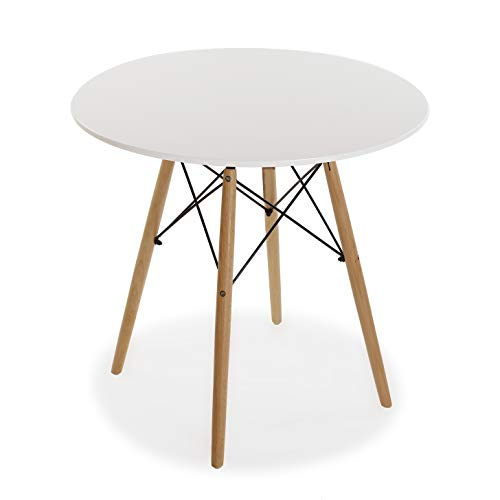 Versa Priya Mesa de comedor para Cocina, Terraza, Jardín o Comedor, Medidas (Al x L x An) 73 x 80 x 80 cm, Madera, Color Blanco
