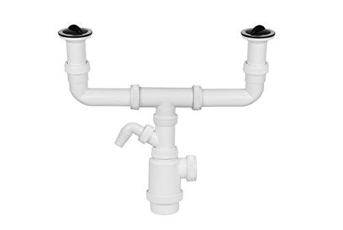 Aqualy - Sifón doble desague fregadero con toma y válvulas