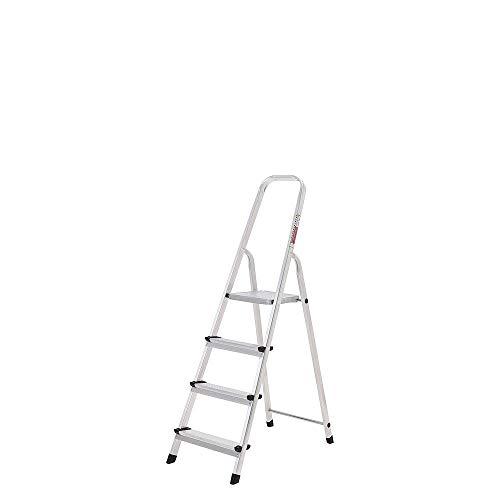 ORYX 23010002 Escalera Aluminio 4 Peldaños Plegable, Uso doméstico, Antideslizante, Ligera y Resistente