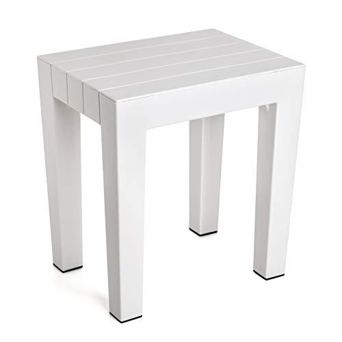 Tatay banqueta Rectangular Fabricada en Polipropileno Texturizado Blanco, con Acabado Efecto Madera. Protección Anti-UVA, Apta para Interior y Exteriores. Medidas 38x29x41m5 cm