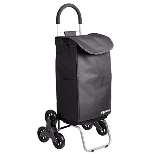 Amazon Basics – Carrito para la compra plegable que puede subir escaleras con plataforma de ruedas extraíble, mango de 96,5cm de altura, negro