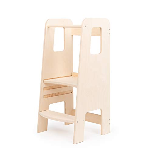 ully Natural by moblì | Torre de Aprendizaje de madera natural hecha en Italia | Diseñada por educadores especializados en el método Montessori | Torre de aprendizaje con estantes regulables