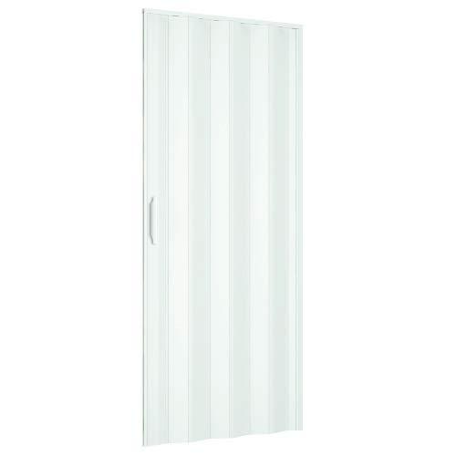 Puerta plegable 83 x 214 cm modelo extra estándar de PVC de color blanco con cierre reversible ajustable tanto en altura como longitud