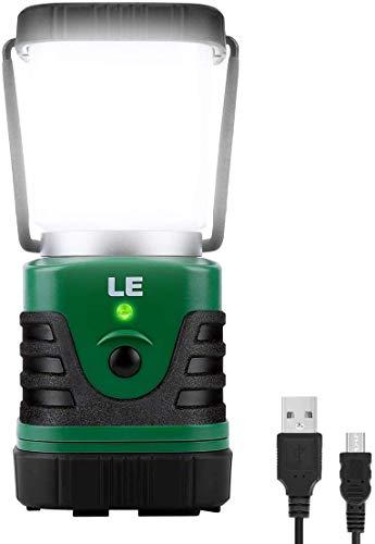 LE Linterna de Camping Recargable, Lámpara de Camping LED 1000 lúmenes, Farol Camping 4 Modos Luz de Emergencia, Luz de Carpa Resistente al Agua para Acampar, Caminar, Pescar, Cortes de Energía y Más