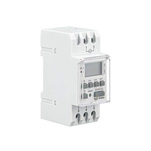 POPP Electric Interruptor de relé de tiempo programable semanal de potencia LCD Digital THC15A 220V 16A (THC-15A)