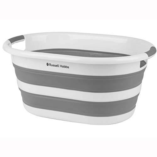 Russell Hobbs LA053879WHTEU Cesta de lavandería plegable, 27L Cesta de lavandería, contenedor de almacenamiento plegable de plástico, asas ergonómicas, cesta de lavado que ahorra espacio, blanco/gris